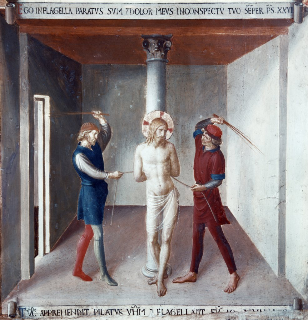 Christ is Beaten, The Flagelation, (From the Life of Christ Fresco Cycle) by Fra Angelico, fresco, (1395-1455), Italy, Florence, Museo di San Marco : Stock Photo