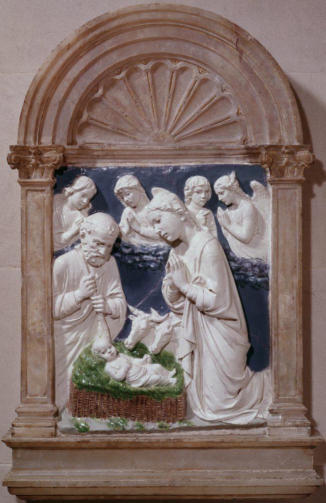 Stock Photo: 900-780 Nativity Luca Della Robbia (1400-1482 Italian) Glazed Terracotta National Gallery of Art, Washington, D.C., USA