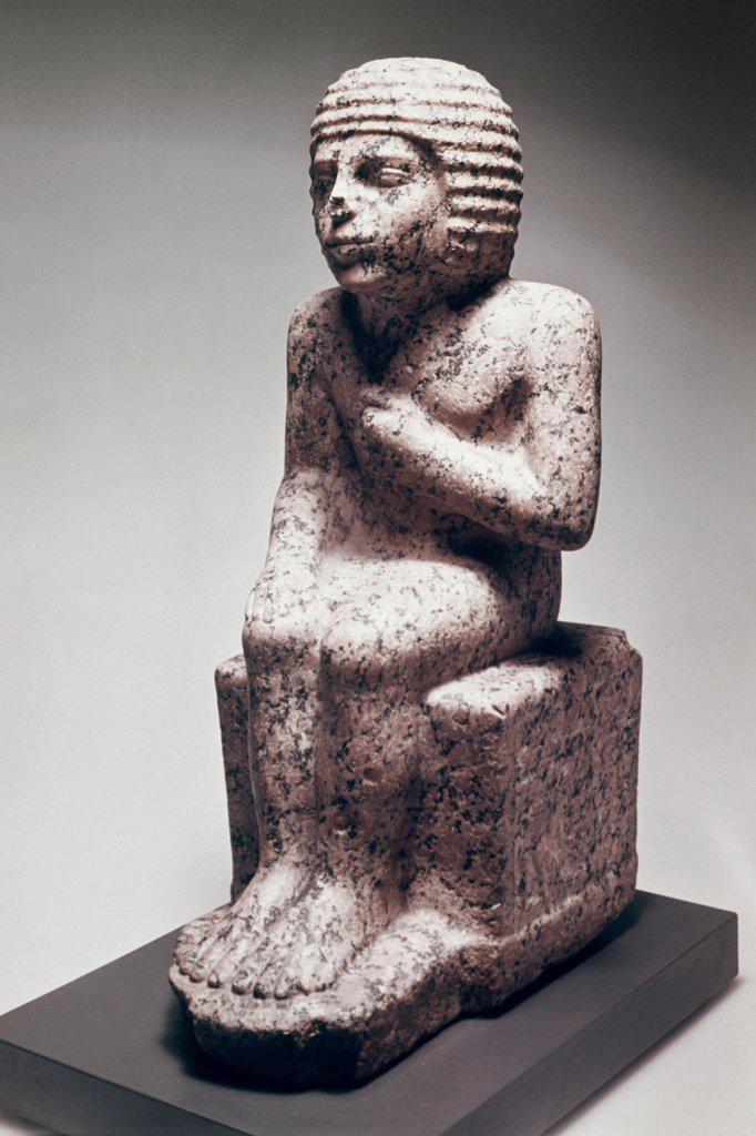 Meten, An Official  C.2600 BC Egyptian Art(- ) Sculpture Staatliche Museen Preussischer Kulturbesitz, (Agyptisches Museum und Papyrussammlung), Berlin : Stock Photo
