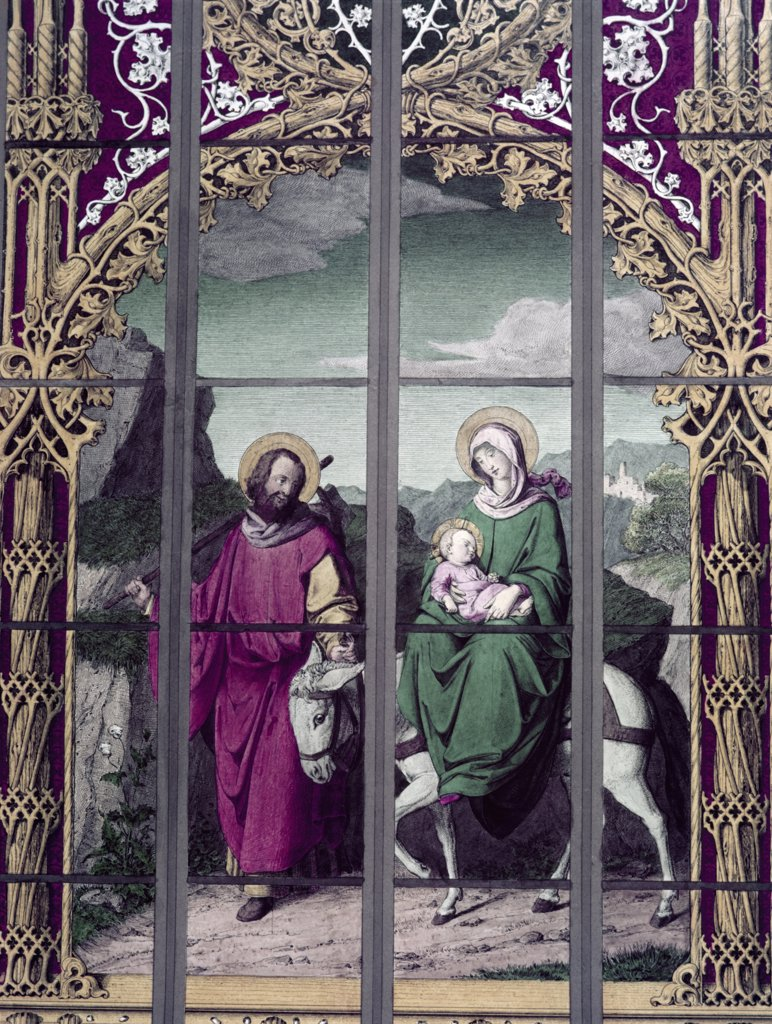 Stock Photo: 900-8267 Flight Into Egypt,  The 19th C. , 19th C. , German School, Stained Glass