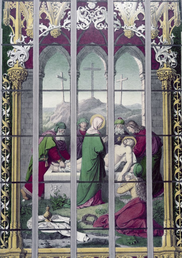 Stock Photo: 900-8272 Entombment,  The, Stained Glass, Stained Glass
