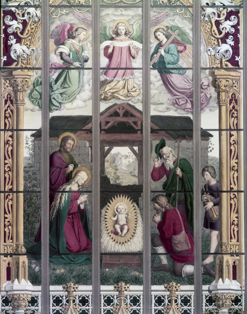 The Birth of Jesus, stained glass, 19th Century : Stock Photo