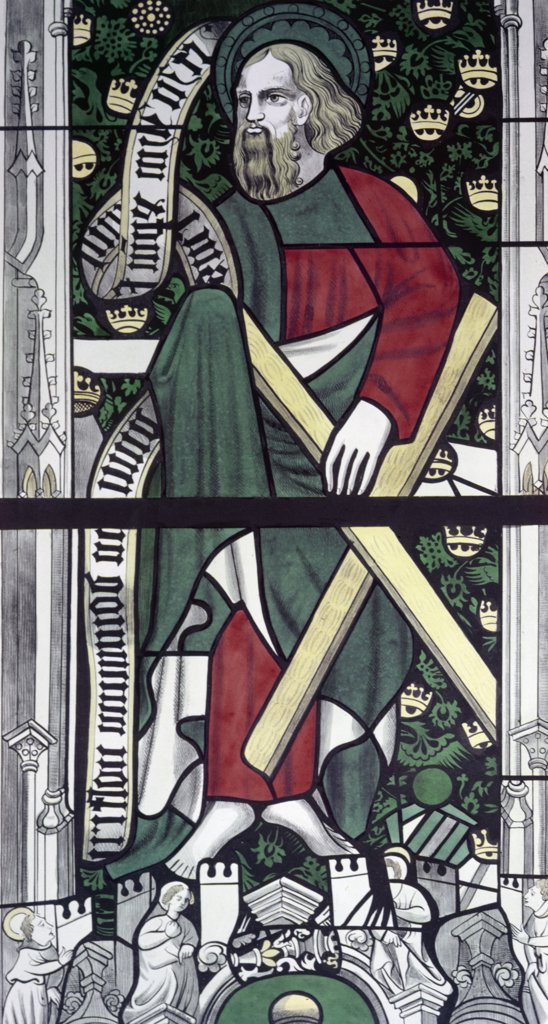 Apostle Andrew,  stained glass,  13th century : Stock Photo