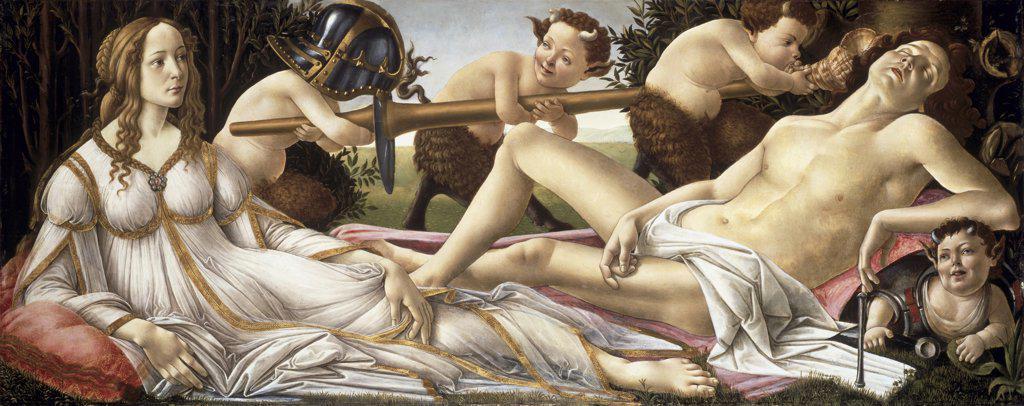 Stock Photo: 900-833 Venus & Mars c.1483 Sandro Botticelli (1444-1510 Italian) National Gallery, London