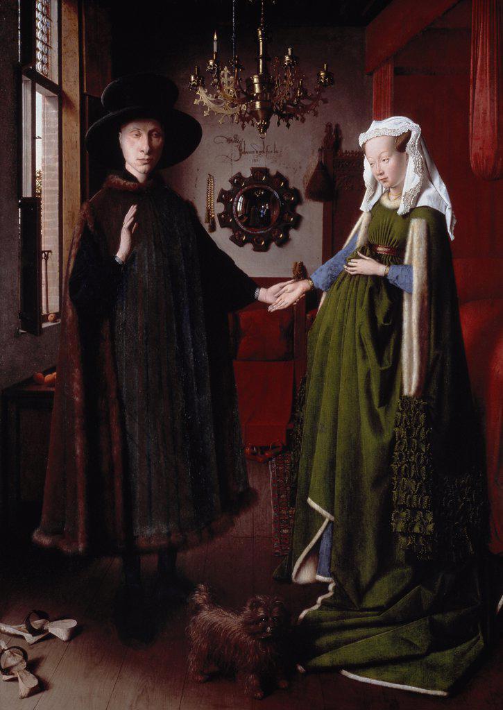 The Arnolfini Portrait 1434 Jan van Eyck (1390-1441/Flemish) Oil on wood Panel National Gallery, London, England  : Stock Photo