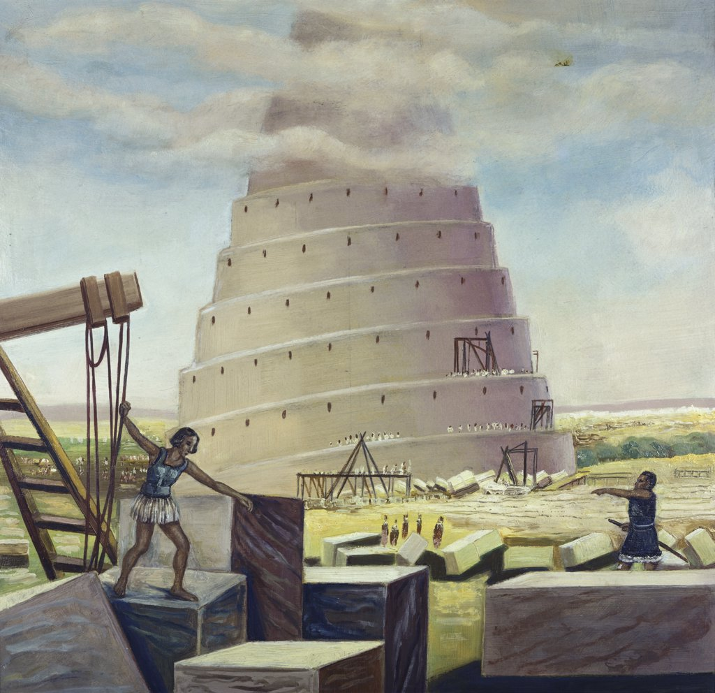 Stock Photo: 900-8353 Building the Tower of Babel Vittorio Bianchini (1797-1880 Italian)