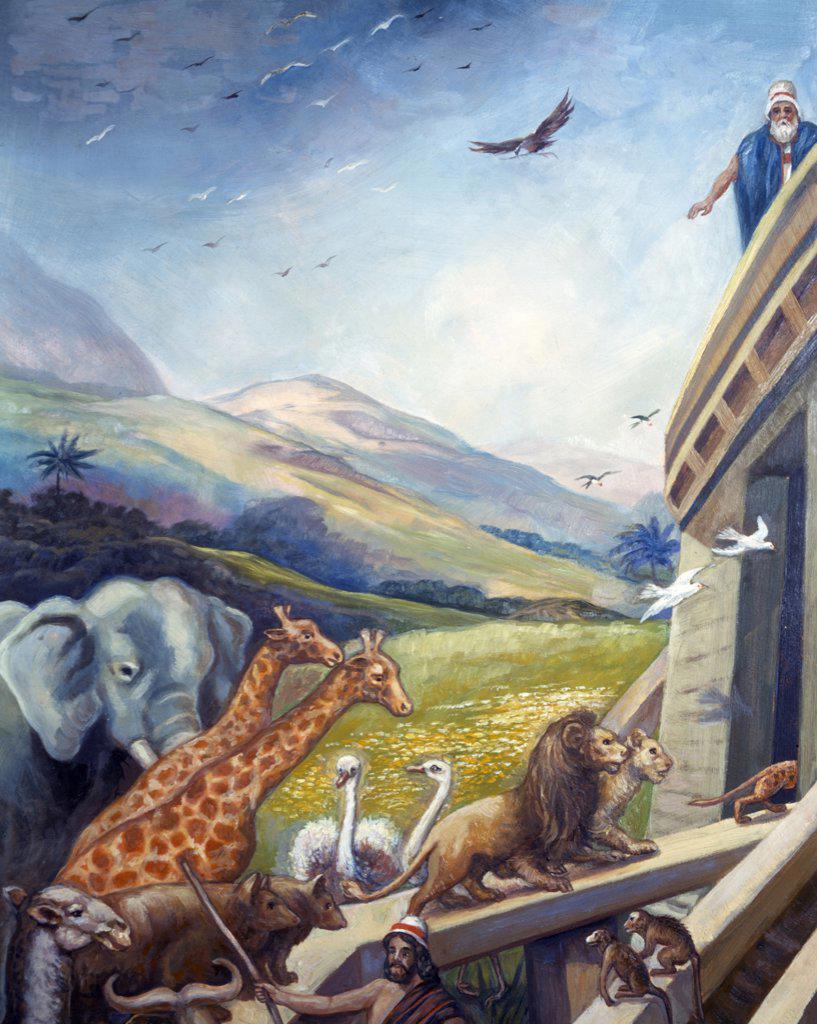 Loading Animals into Ark by Vittorio Bianchini, (1797-1880) : Stock Photo