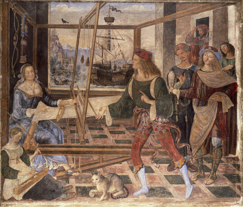 "Stock Photo: 900-836 Return of Ulysses to Penelope: From ""The Odyssey"" C.1509 Pintoricchio (c.1454-1513 Italian) Fresco National Gallery, London, England"