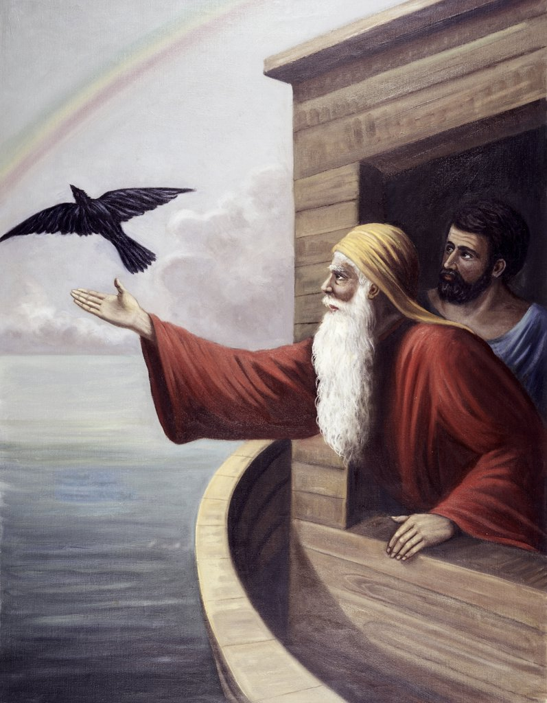 Noah Releasing the Raven Vittorio Bianchini (1797-1880 Italian) : Stock Photo