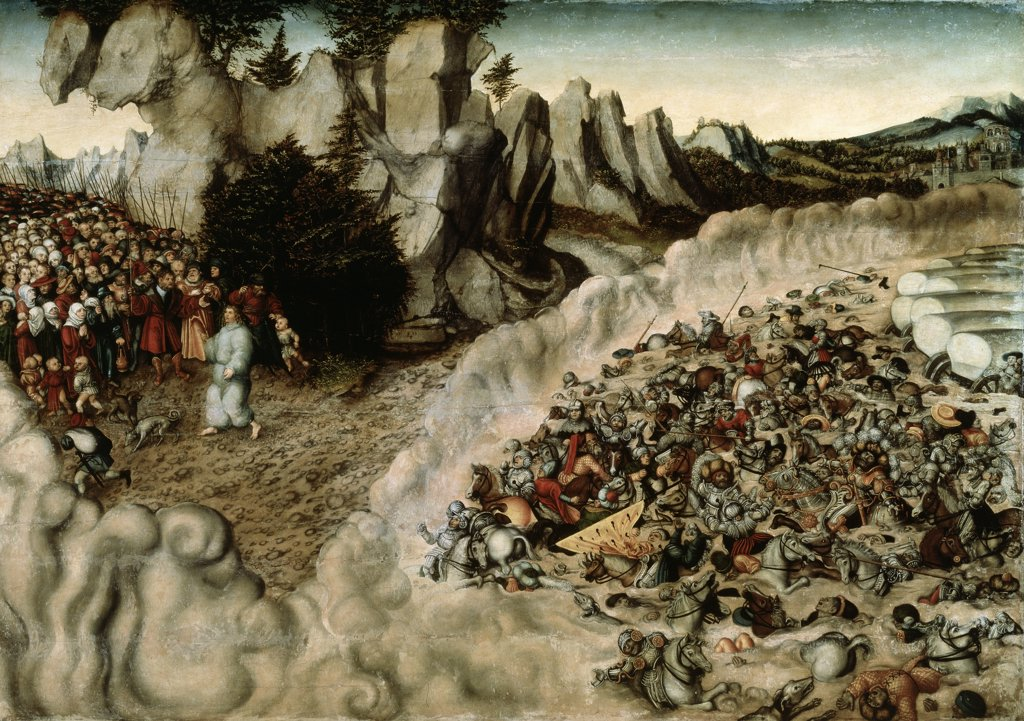 Stock Photo: 900-856 Pharoh's Hosts Engulfed in the Red Sea 