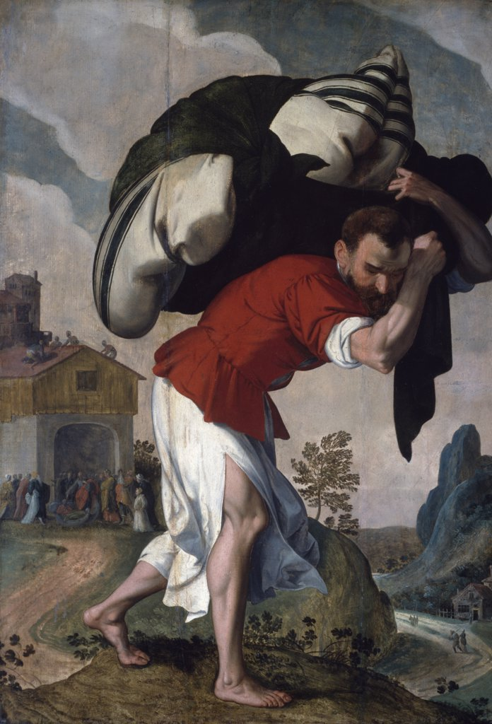 The Healing of the Paralytic, artist unknown, oil on wood panel, (1560-1590), U.S.A., Washington, D.C., National Gallery of Art : Stock Photo