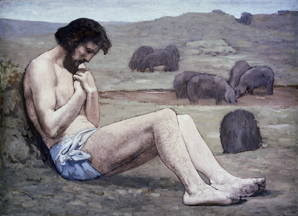 The Prodigal Son c. 1879, Pierre Puvis de Chavannes (1824-1898 French) Oil on Canvas National Gallery of Art, Washington, D.C. : Stock Photo