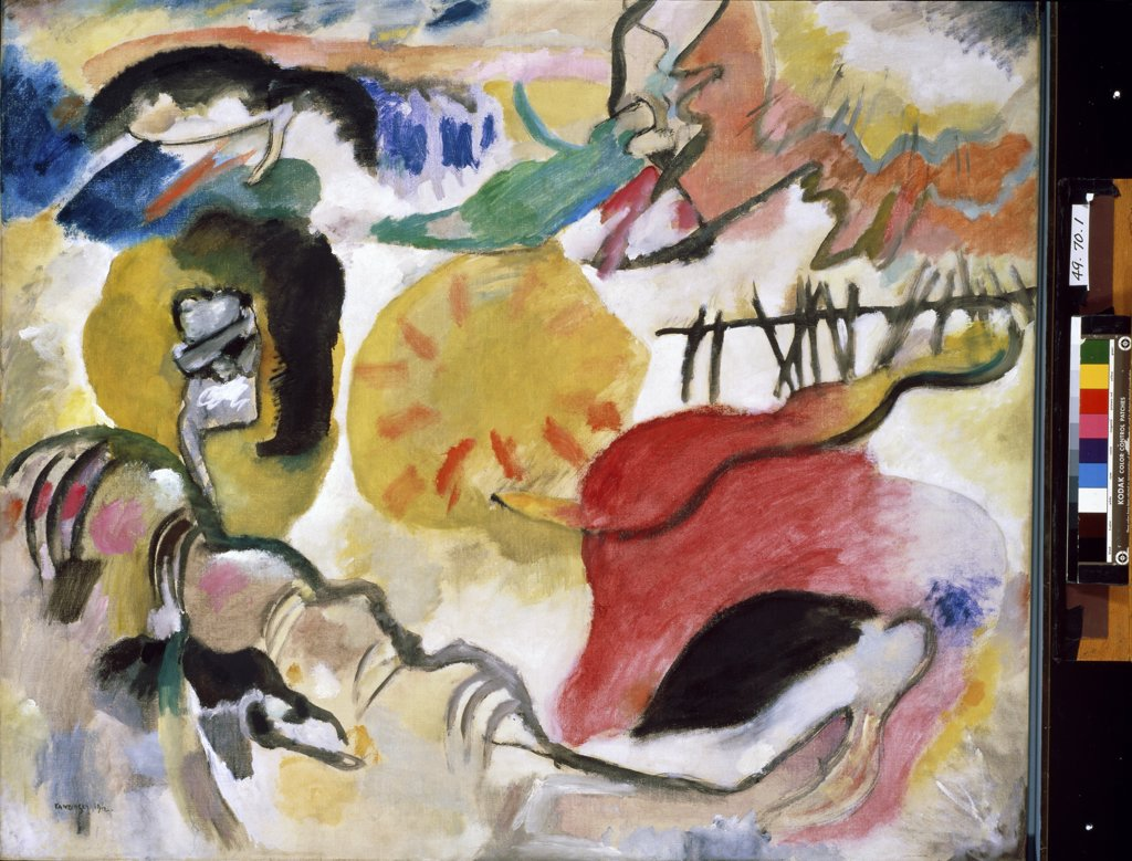 Stock Photo: 900-886 Improvisation #27: The Garden of Love by Wassily Kandinsky, oil on canvas, 1912, 1866-1944, USA, New York City, Metropolitan Museum of Art.