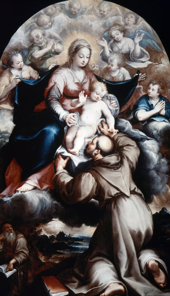 Stock Photo: 900-8901 Saint Francis Adoring Christ Child by Denys Calvaert, (C.1540-1619 )