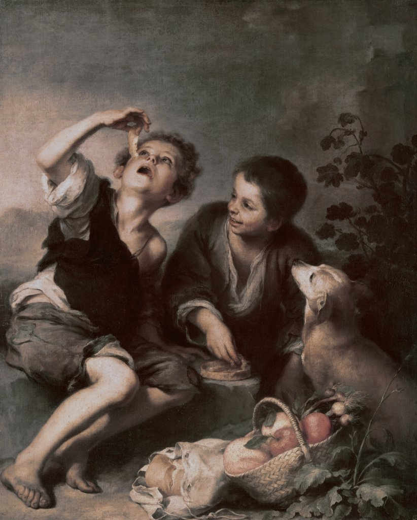 Stock Photo: 900-9030 The Pie Eating Bartolome Esteban Murillo (1617-1682 Spanish)