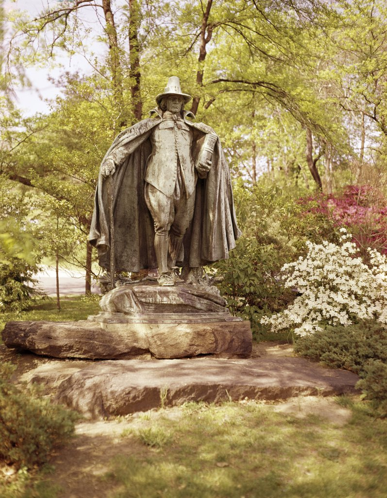 Stock Photo: 900-9636 Pilgrim Statue,Augustus Saint-Gaudens (1848-1907 American),Fairmount Park, Philadelphia,American History