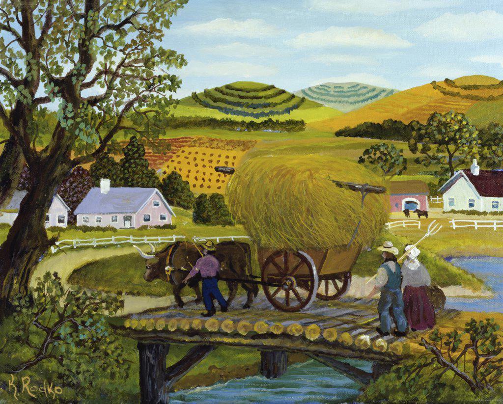 Stock Photo: 900-966 The Hay Wagon  Konstantin Rodko (1908-1995/Russian)  Oil on canvas