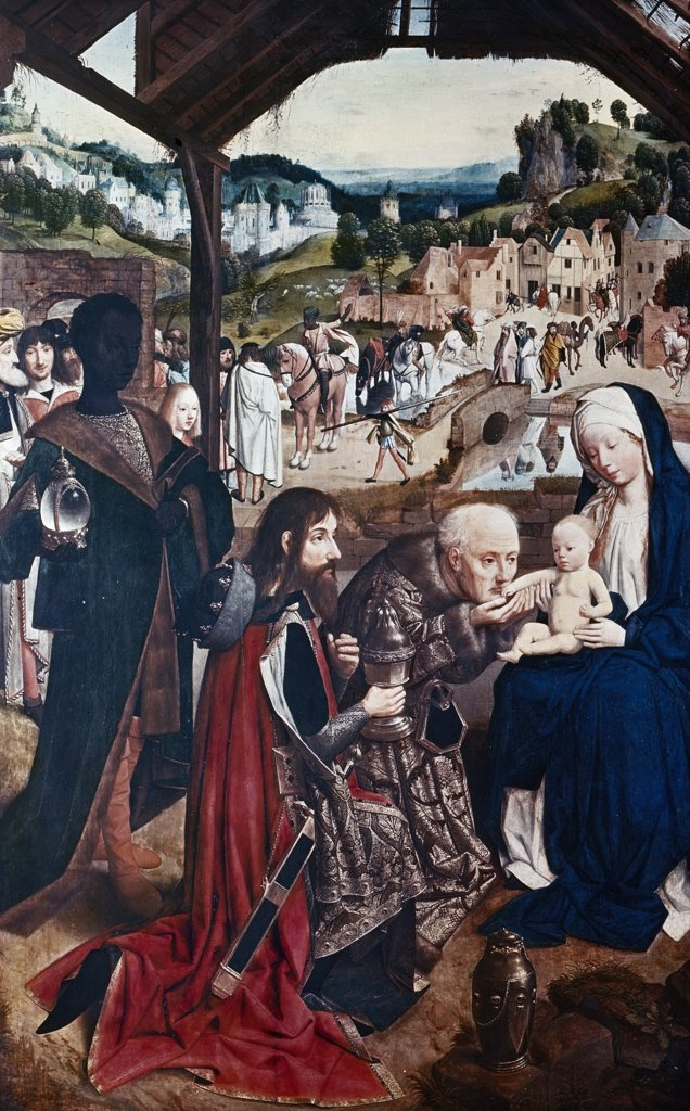 Stock Photo: 900-9823 Adoration of Magi by Geertgen tot Sint Jans, (ca.1465-ca.1495)