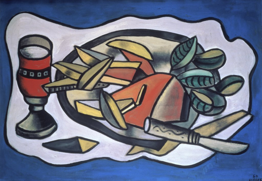 Stock Photo: 900-992 Still Life with Knife, (Nature morte au couteau) by Fernand Leger, oil on canvas, 1950, 1881-1955, Private Collection