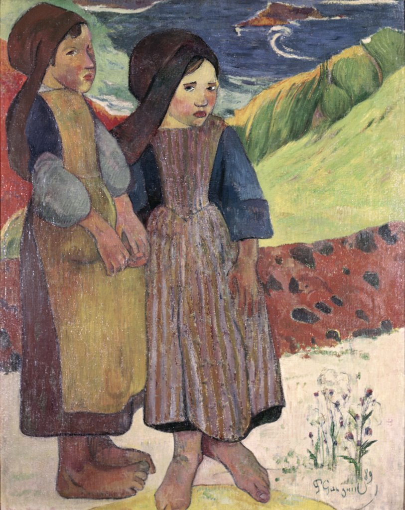 Two Breton Girls By The Sea, 1889, Gauguin, Paul(1848-1903 French), Museum of Western Art, Tokyo, Japan : Stock Photo