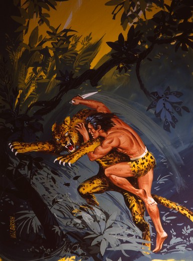 Stock Photo: 901-128562 Tarzan figting with leopard