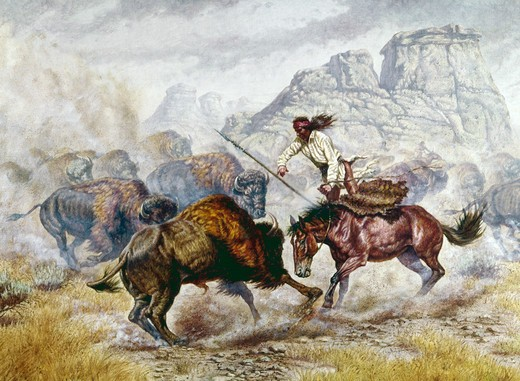 Stock Photo: 901-128577 Nativ American man during bison hunting