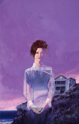 Stock Photo: 902-136702 Ghost of young woman by sea with house in background at dusk by unknown artist,  illustration