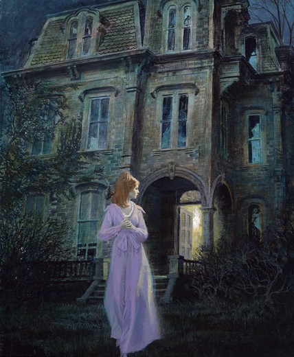 Stock Photo: 902-136848 Young woman running from house at night by unknown artist,  illustration
