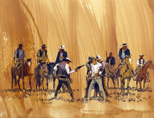 Stock Photo: 902-138033 Cowboys on horseback surrounding enemy