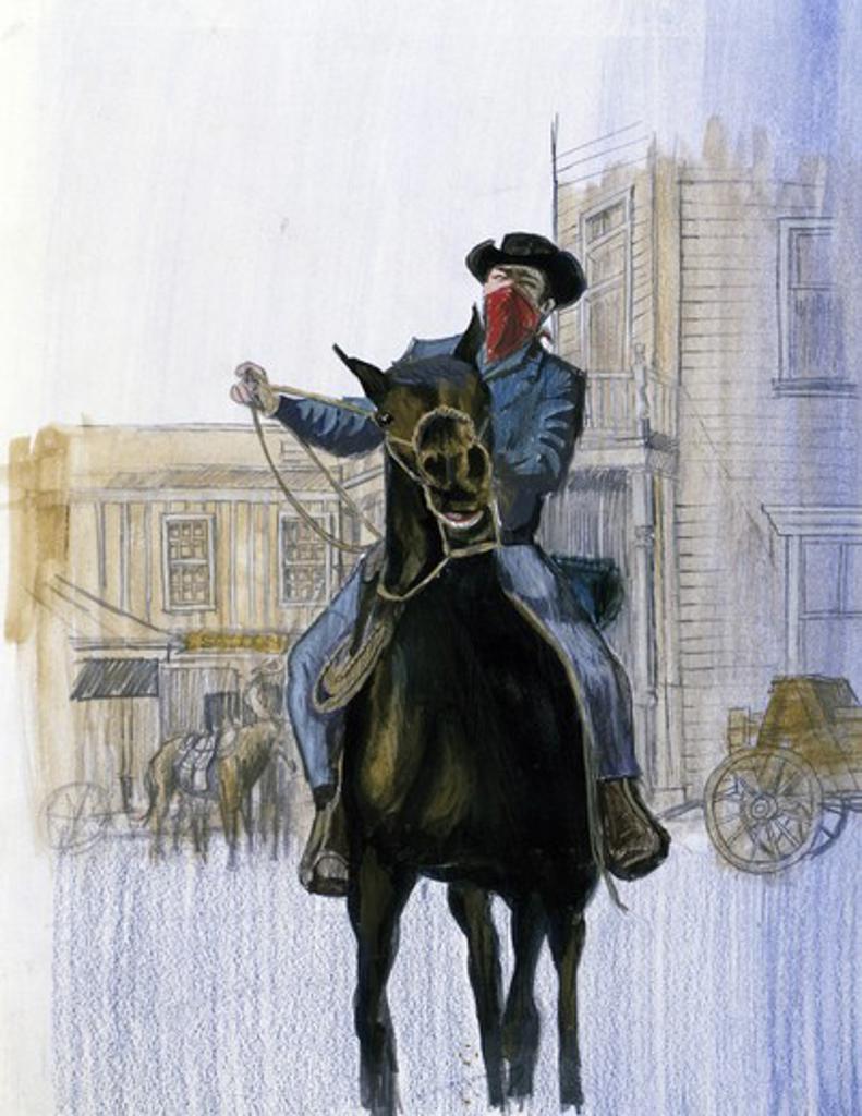 Painting of masked horseman : Stock Photo