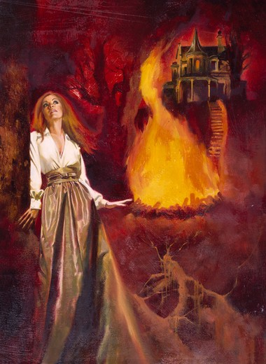 Young woman walking from castle on fire : Stock Photo