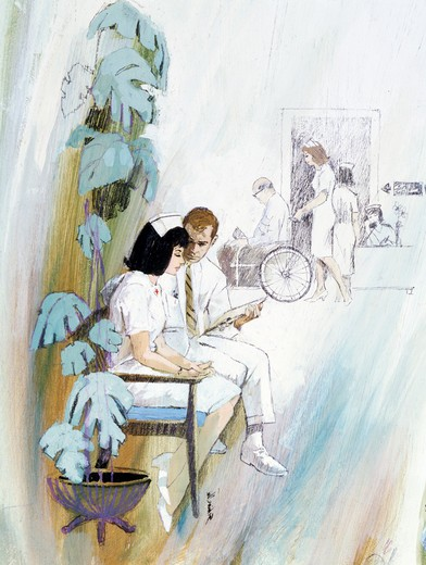 Doctor and a nurse reviewing a medical report in the corridor of a hospital : Stock Photo
