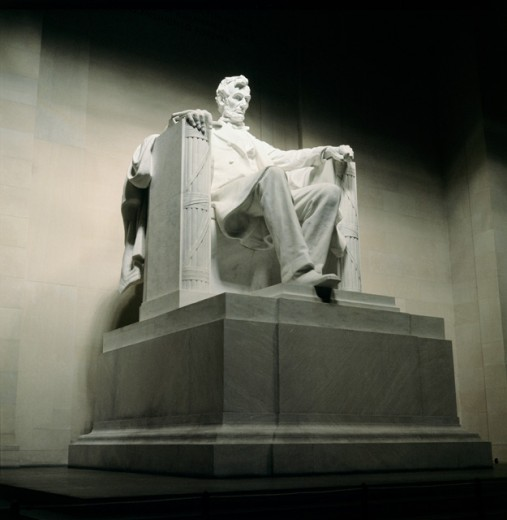 Low angle view of a statue, Abraham Lincoln Statue, Lincoln Memorial, Washington DC, USA : Stock Photo