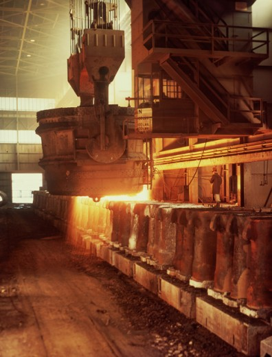 Stock Photo: 903-5996 Foundry worker working on a blast furnace in a steel mill, US Steel, Gary, Indiana, USA