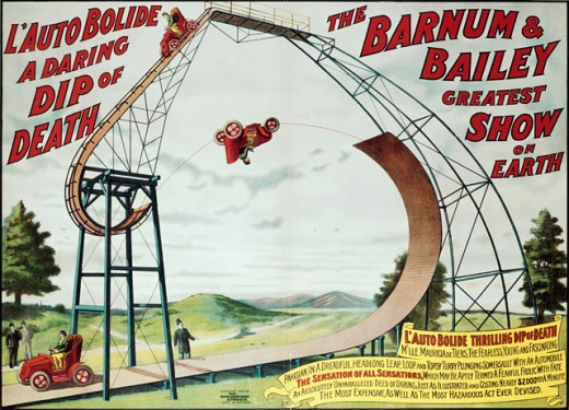 L'Auto Bolide Thrilling Dip of Death from Barnum & Bailey, poster : Stock Photo
