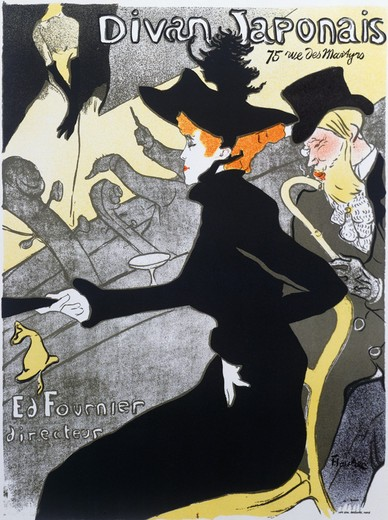 Divan Japonaise Henri de Toulouse-Lautrec Lithograph : Stock Photo