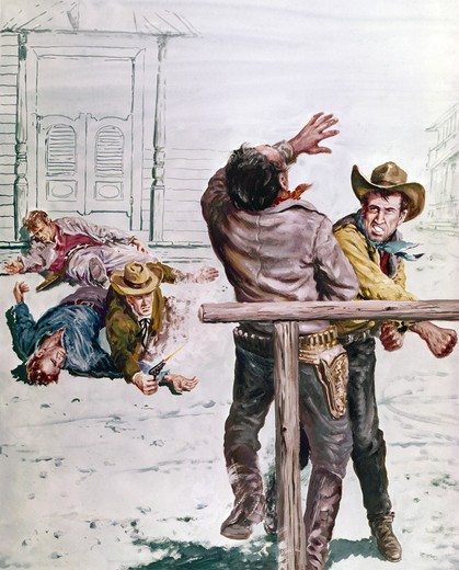 Stock Photo: 911-352 Cowboys fighting in a street