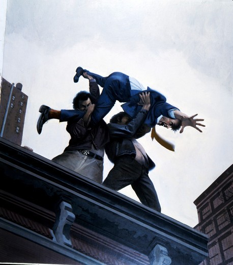 Stock Photo: 912-130729 Criminals throwing a man from the roof of a building