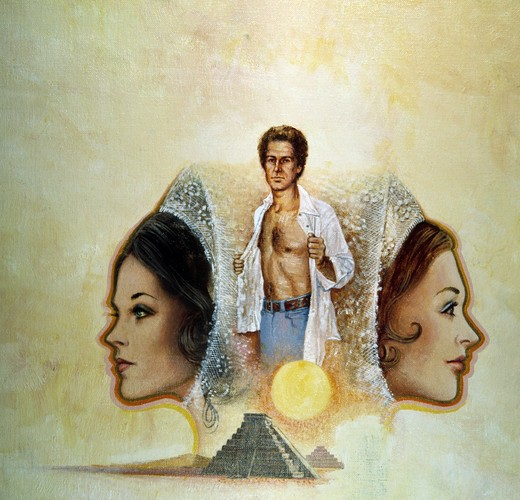 Painting of Aztec pyramid, barechested man and two women : Stock Photo