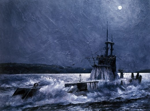 Emergency submarine, night, illustration : Stock Photo
