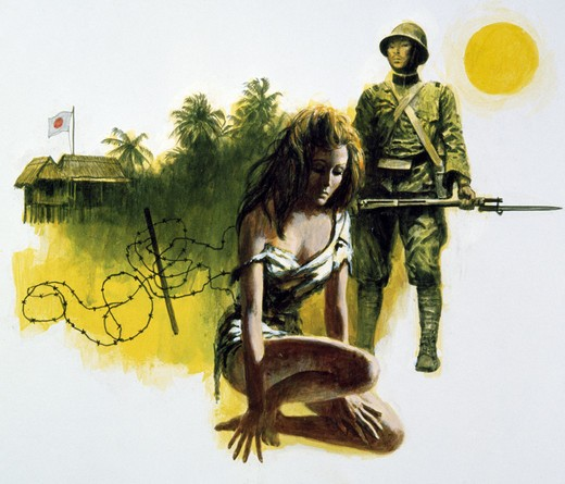 Imprisoned woman and Japanese soldier guarding her, illustration : Stock Photo