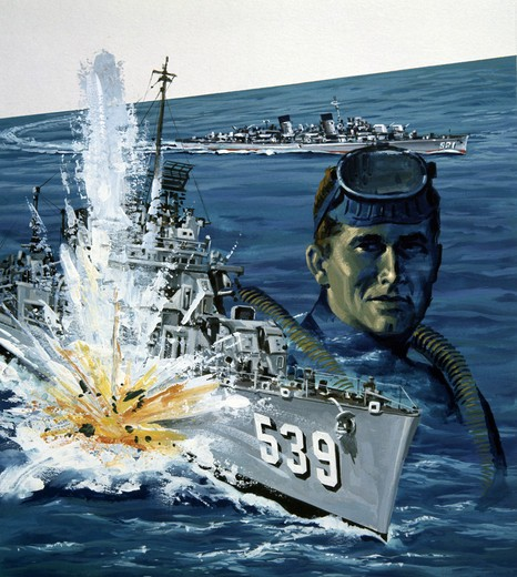 Stock Photo: 918-135063 Exploding warship on sea, portrait of diver, illustration