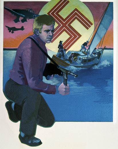 Stock Photo: 918-135297 Man with machine gun, boat and nazi swastika in the background, illustration