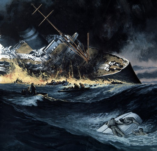 Sinking warship, illustration : Stock Photo