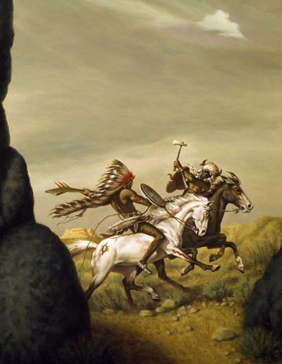 Stock Photo: 941-140675 Native Americans fighting on horses