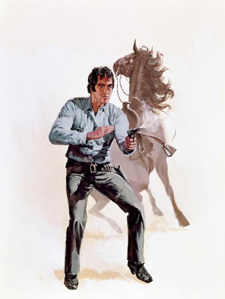 Cowboy shooting with handgun : Stock Photo