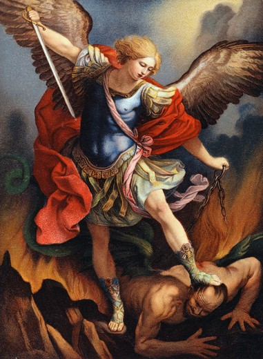 St. Michael Archangel Nostalgia Cards Color Lithograph : Stock Photo