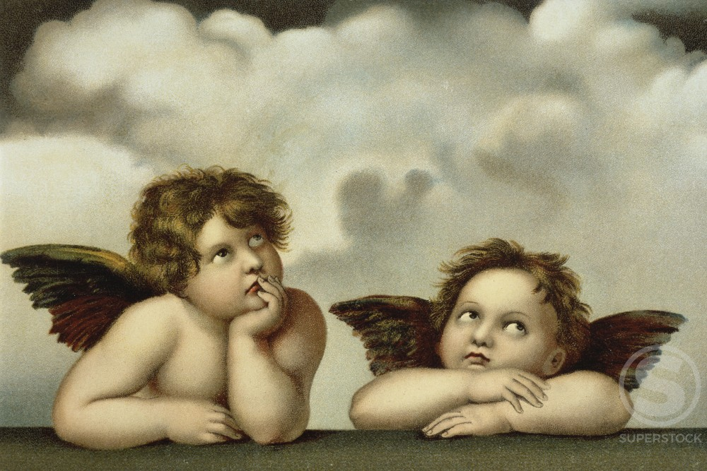 Stock Photo: 980-1017 Angels (Detail After the Sistine Madonna by Raphael)  Nostalgia Cards