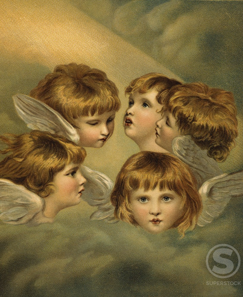Stock Photo: 980-1020 Child Angel Heads  Artist Unknown