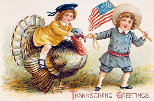 Thanksgiving Greetings, Nostalgia Cards : Stock Photo